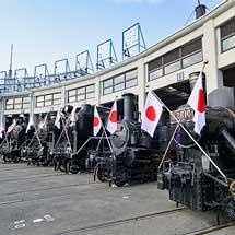 京都鉄道博物館扇形車庫で蒸気機関車の頭出し展示