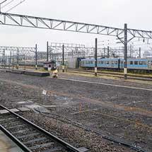松山駅構内の旧松山運転所の線路撤去が始まる