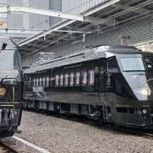 『黒い787「36ぷらす3」』と「ななつ星in九州」が博多駅で並ぶ
